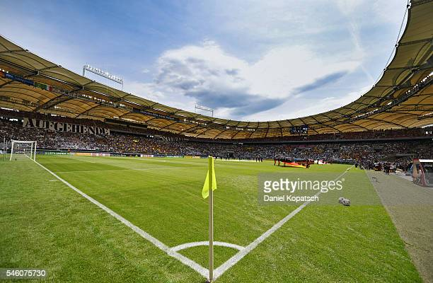 A general view prior to the UEFA Under19 European Championship match between U19 Germany and U19 Italy at MercedesBenz Arena on July 11 2016 in...