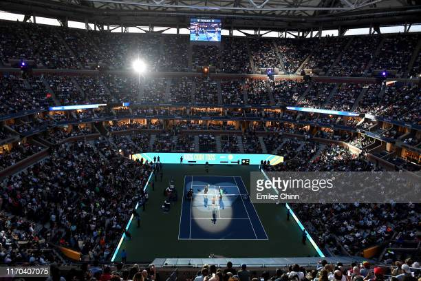 A general view prior to the Women's Singles first round match between Serena Williams of the United States and Maria Sharapova of Russia during day...