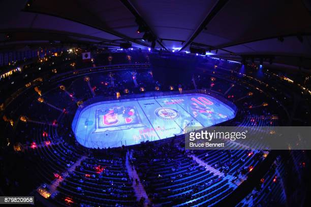 A general view prior to warmups and the game between the New York Rangers and the Vancouver Canucks at Madison Square Garden on November 26 2017 in...