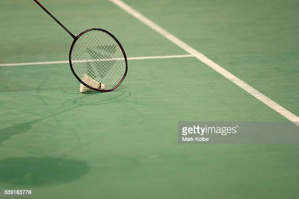 A general view seen as a player collects a shuttlecock from the court during the 2016 Australian Badminton Open at Sydney Olympic Park Sports Centre...