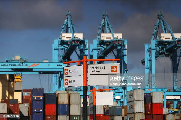 A general view shipping containers and cranes which move them at the Port of Rotterdam on October 27 2017 in Rotterdam Netherlands The Port of...