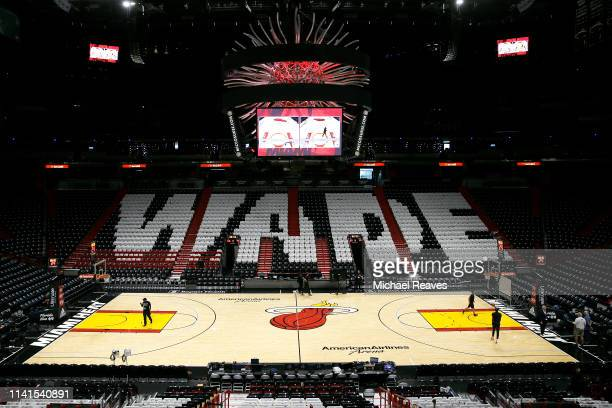A general view shirts on the seats honoring Dwyane Wade of the Miami Heat prior to his final regular season home game of his career at American...