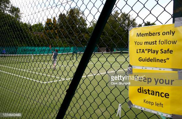 A general view showing an LTA sign explaining to players to social distance and follow the LTA play safe guidelines on May 13 2020 in Bowdon United...