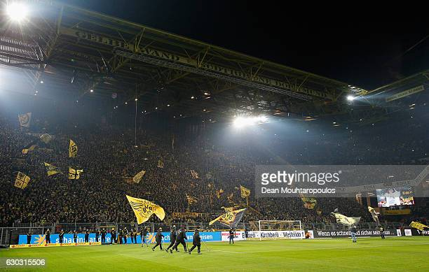 A general view showing Borussia Dortmund fans prior to the Bundesliga match between Borussia Dortmund and FC Augsburg at Signal Iduna Park on...
