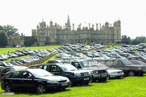 General view showing cars parked for the 2004 Burghley Horse Trials is seen at Burghley House on September 3 2004 in Stamford Lincolnshire England