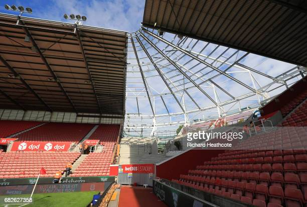 A general view showing contruction work prior to the Premier League match between Stoke City and Arsenal at Bet365 Stadium on May 13 2017 in Stoke on...