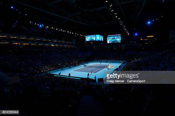 A general view showing Kei Nishikori of Japan against Marin Cilic of Croatia in their Group John McEnroe match on day six of the ATP World Tour...