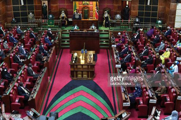 General view showing Kenyan Members of Parliament and Senators attending an address by Tanzanian President Samia Suluhu Hassan at the Parliament...