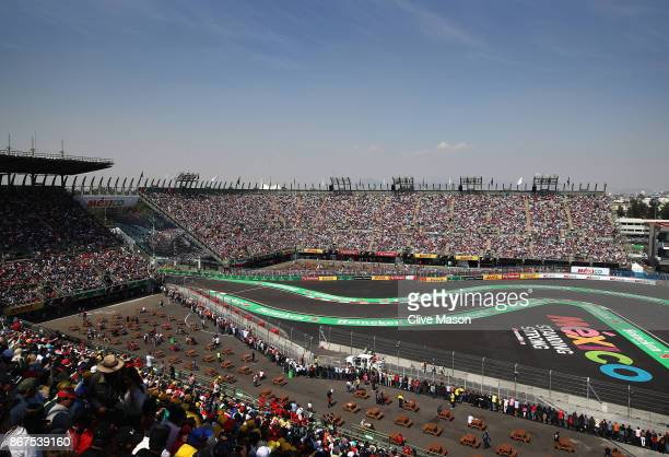 A general view showing Lewis Hamilton of Great Britain driving the Mercedes AMG Petronas F1 Team Mercedes F1 WO8 on track during qualifying for the...