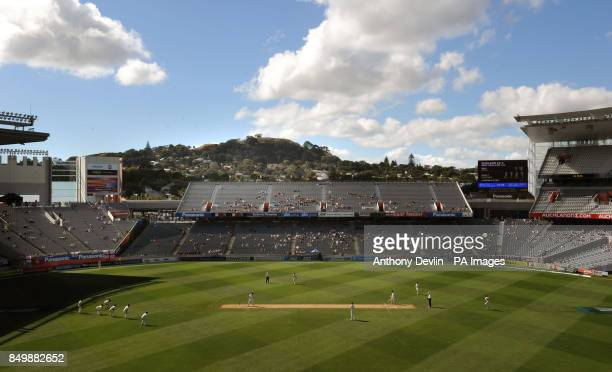 General view showing Mount Eden in the distance during day three of the Third Test match at Eden Park Auckland New Zealand