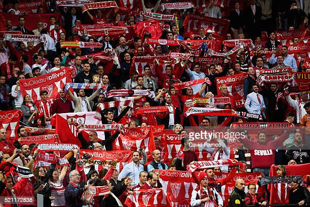 A general view showing Sevilla fans during the UEFA Europa League quarter final second leg match between Sevilla and Athletic Bilbao at the Ramon...
