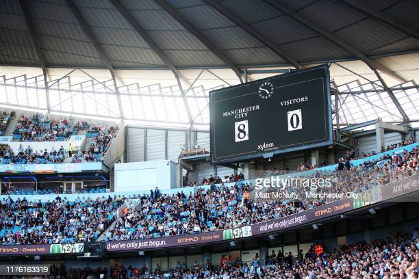 A general view showing the 80 scoreline during the Premier League match between Manchester City and Watford FC at Etihad Stadium on September 21 2019...