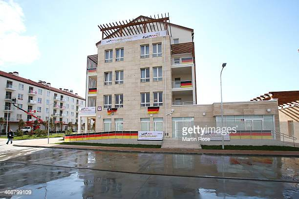 A general view showing the accommodation used by the German team ahead of the Sochi 2014 Winter Olympics at the Athletes Olympic Village on February...