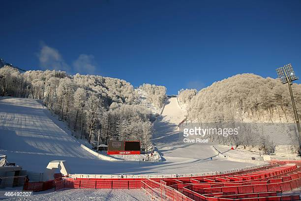 General view showing the finish area of the Alpine Skiing ahead of the Sochi 2014 Winter Olympics at the Rosa Khutor Alpine Center, Mountain Cluster...