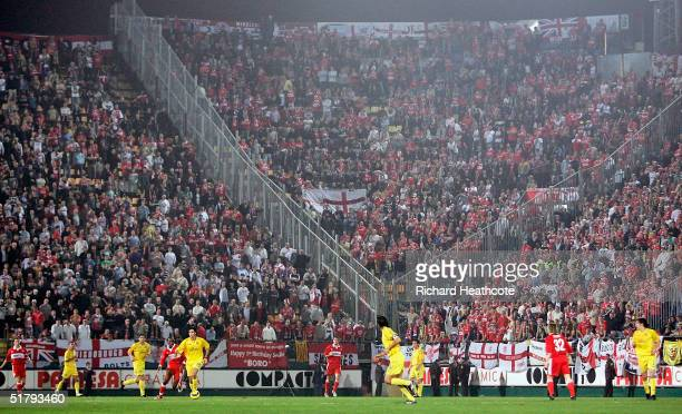 General View showing the large amount of Middlesbrough fans during the UEFA Cup group stage match between Villarreal and Middlesbrough held at The El...
