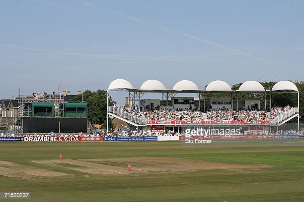 A general view showing the location of advertisement boards of the County Ground Bristol taken from the pavillion end of the ground on July 24 2006...