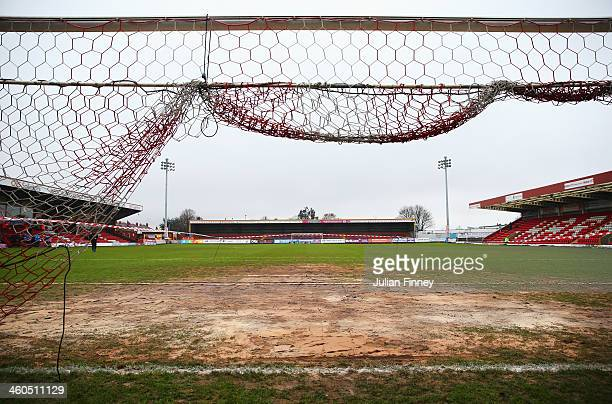 A general view showing the muddy goal mouth prior to the Budweiser FA Cup third round match between Kidderminster Harriers and Peterborough United at...