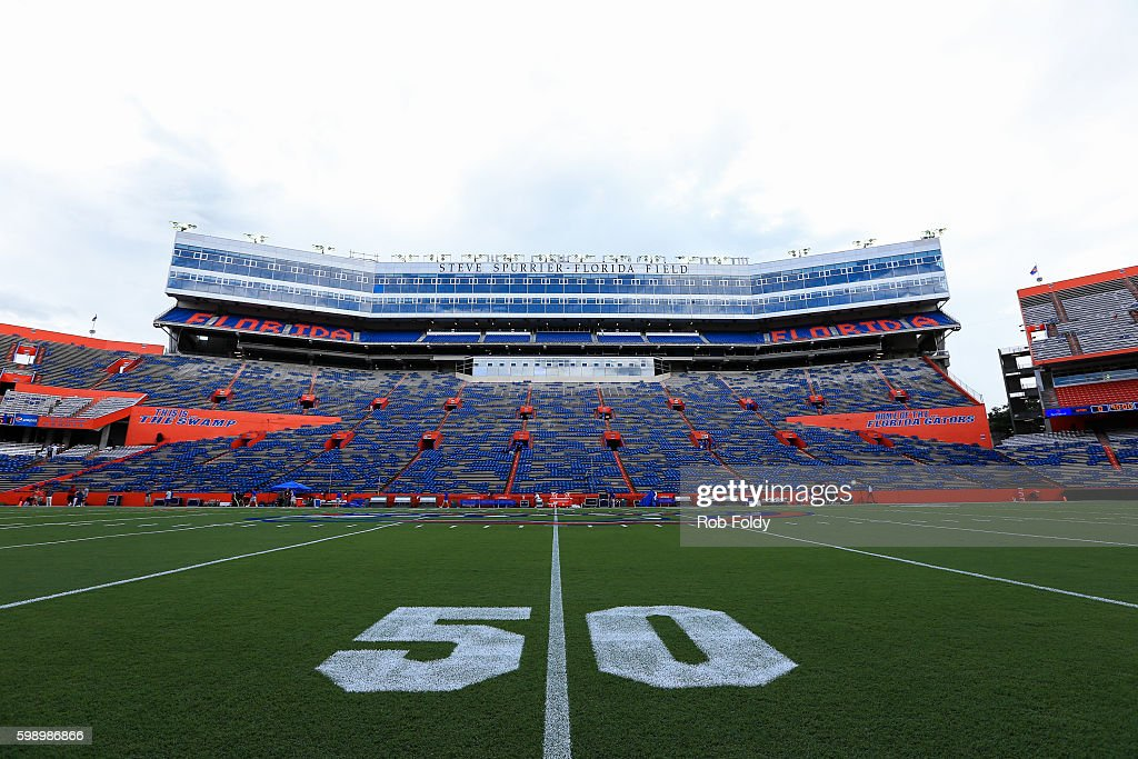 A general view showing the new Steve Sputtier - Florida Field signage at Ben Hill Griffin Stadium before the game between the Florida Gators and the Massachusetts Minutemen on September 3, 2016 in Gainesville, Florida.