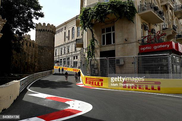 A general view showing the Qosha gate building from the circuit during previews ahead of the European Formula One Grand Prix at Baku City Circuit on...