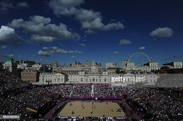 General view showing Whitehall and the London Eye tourist attraction during the Beach Volleyball Competition at Horse Guards Parade as part of the...