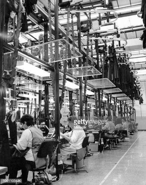 General view showing workers at the Laura Ashley textiles factory in Carno Powys Wales April 1992