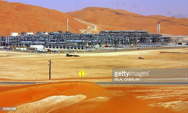 A general view shows 09 March 2004 the Shaybah megaproject the first and so far sole oilfield development in Saudi Arabia's vast AlRub alKhali desert...