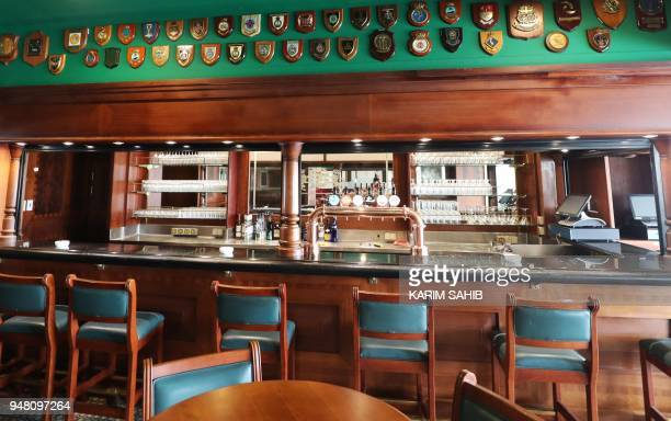 A general view shows a bar on The Queen Elizabeth II luxury cruise liner also known as the QE2 docked at Port Rashid in Dubai where it will be moored...