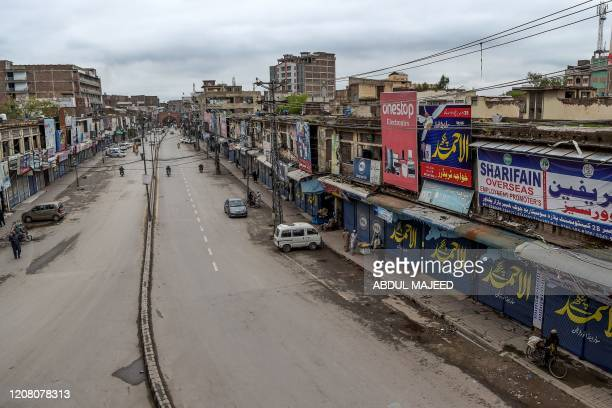 A general view shows a closed market during a governmentimposed lockdown as a preventive measure against the COVID19 coronavirus in Peshawar on March...