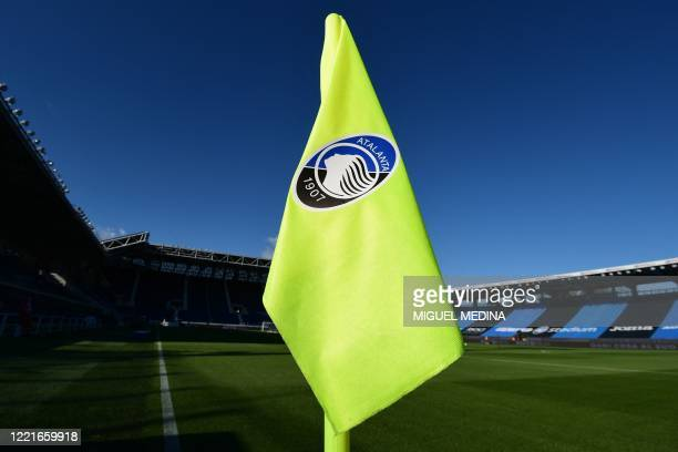 General view shows a corner flag with the logo of Atalanta, in an empty Atleti Azzurri d'Italia stadium prior to the Italian Serie A football match...