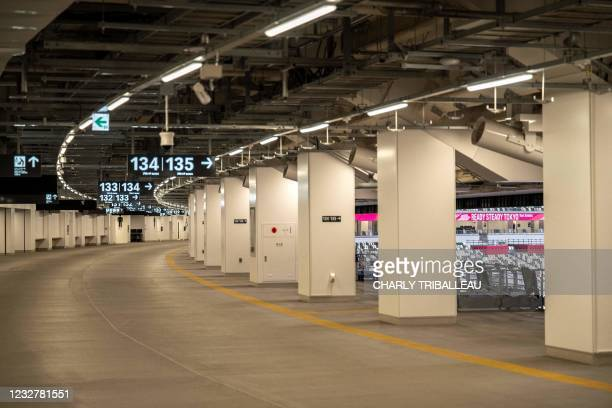 General view shows a corridor at the National Stadium during an athletics test event for the 2020 Tokyo Olympics in Tokyo on May 9, 2021.