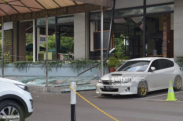 A general view shows a damaged Starbucks coffee shop after a series of explosions hit central Jakarta on January 14 2016 An assault on Jakarta is...