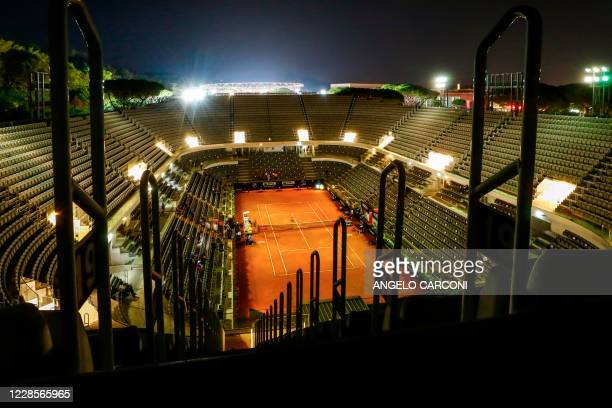 General view shows a deserted central court at the end of the match between Italy's Lorenzo Musetti and Japan's Kei Nishikori on day four of the...