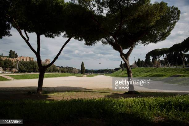 General view shows a deserted Circus Maximus, Rome's ancient Roman chariot-racing stadium and mass entertainment venue on March 25, 2020 in Rome,...