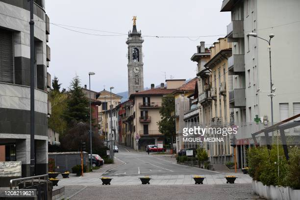 A general view shows a deserted street in Albino near Bergamo Lombardy on March 25 during the country's lockdown following the COVID19 new...