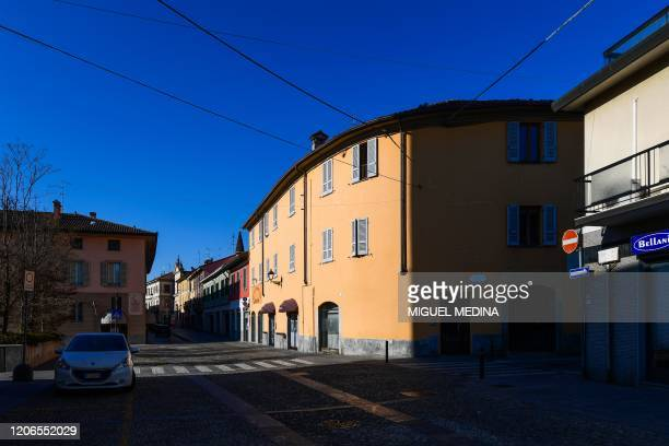 A general view shows a deserted street in central Codogno southeast of Milan on March 11 2020 a day after Italy imposed unprecedented national...