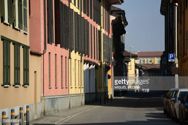 A general view shows a deserted street in Codogno southeast of Milan on February 22 2020 Streets were deserted and residents warned to keep out of an...