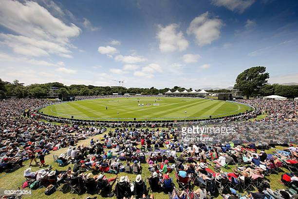 General view shows a full house during the first One Day International match between New Zealand and Bangladesh at Hagley Oval on December 26 2016 in...