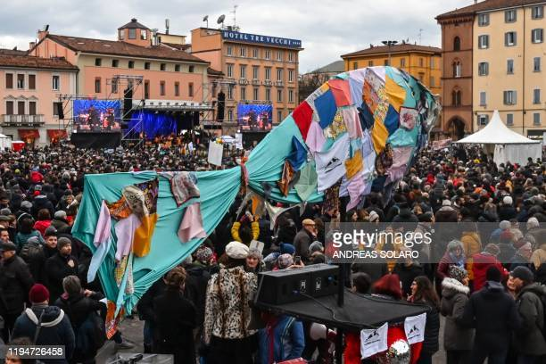 A general view shows a giant fishshaped banner during a rally of the antifascist Sardine Movement formed to oppose the farright League party on...