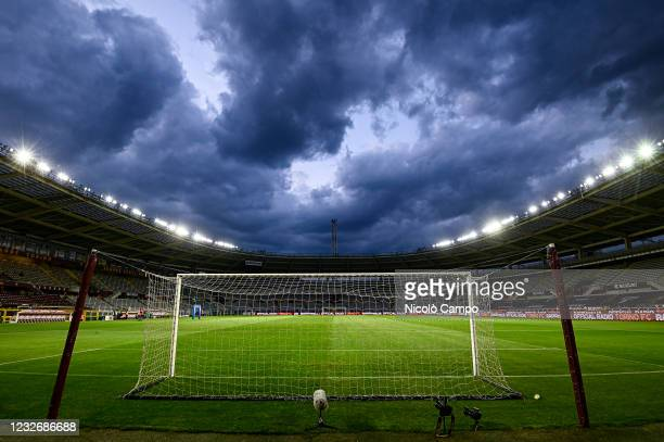 General view shows a goal and the pitch of stadio Olimpico Grande Torino prior to the Serie A football match between Torino FC and Parma Calcio....