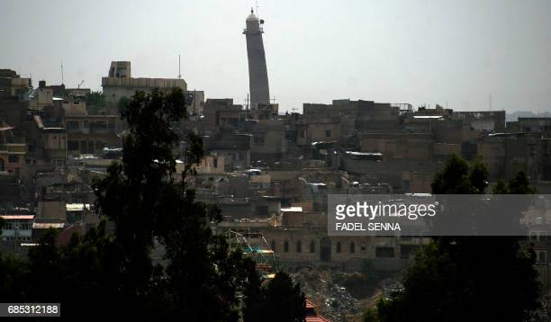 CORRECTION A general view shows a leaning minaret in Mosul on May 19 2017 / AFP PHOTO / FADEL SENNA / The erroneous mention[s] appearing in the...