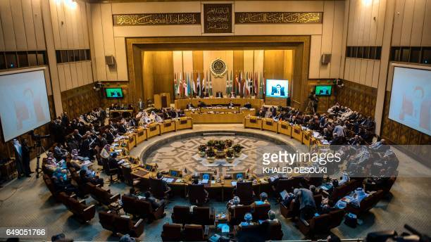 A general view shows a meeting of foreign ministers at the headquarters of the Arab League in the Egyptian capital Cairo on March 7 2017 / AFP PHOTO...