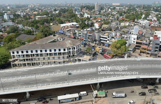 A general view shows a newly completed overpass road Sri Lanka's longest flyover at 533metres long in Colombo on January 6 2018 The 47 billion rupee...