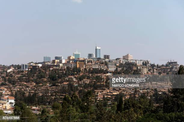 A general view shows a panorama of houses and buildings in the city of Kigali on July 30 2017 The presidential elections will be held in Rwanda on 4...