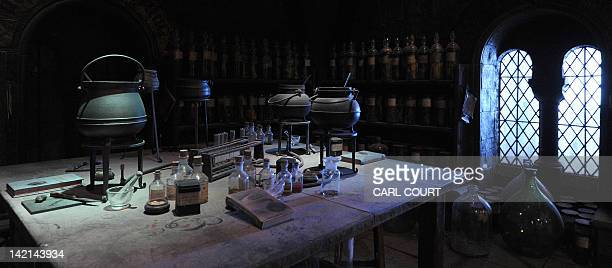 A general view shows a potions classroom during a preview of the Warner Bros Harry Potter studio tour 'The Making of Harry Potter' in north London on...