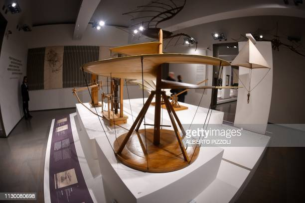 """General view shows a reproduction of Leonardo da Vinci's """"Vite Aerea"""" during the exhibition """"Science Before Science"""" on March 12, 2019 at the..."""