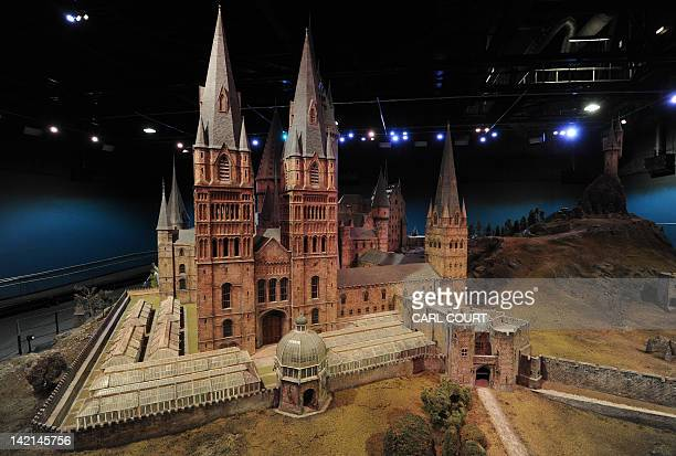 A general view shows a scale model of Hogwarts School of Witchcraft and Wizardry during a preview of the Warner Bros Harry Potter studio tour 'The...