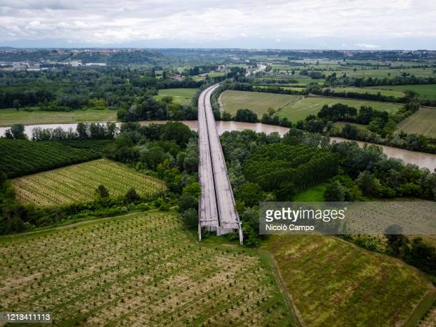 General view shows a section of the autostrada A33 . The A33 is an Italian motorway which will connect Asti to Cuneo, it is currently under...