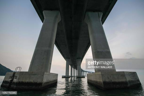 TOPSHOT A general view shows a section of the Hong KongZhuhaiMacau Bridge in Hong Kong on October 22 2018 The world's longest seabridge connecting...