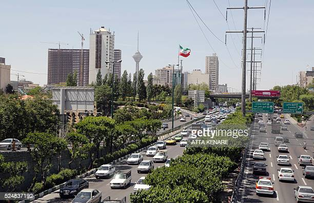 A general view shows a traffic jam in downtown Tehran on April 27 2016 / AFP / ATTA KENARE