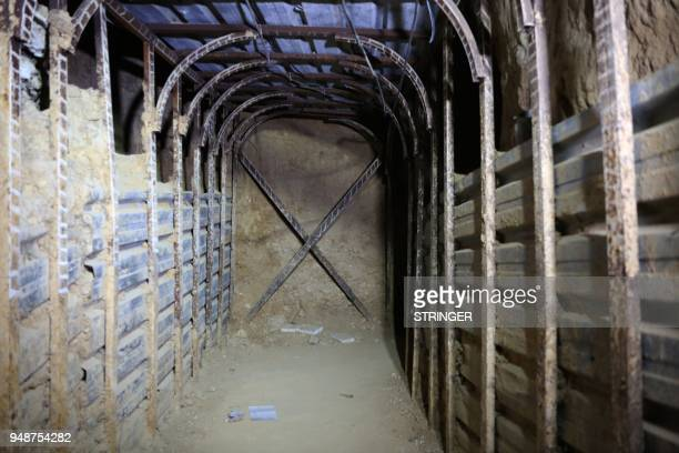 A general view shows a tunnel in the former rebelheld Syrian town of Douma on the outskirts of Damascus on April 19 five days after the Syrian army...